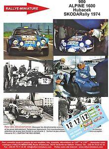 DECALS 1//43 REF 0980 ALPINE RENAULT A110 HUBACEK RALLYE SKODA RALLY 1974