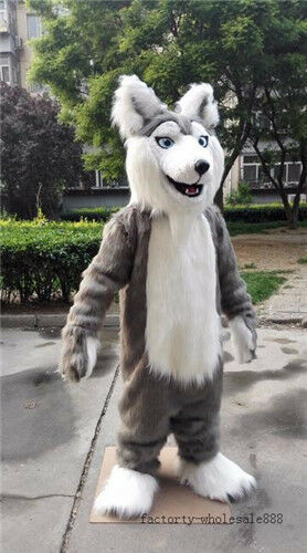 Halloween Long Fur Gray Husky Dog Mascot Costume Fox Adults Fancy Suit Unisex