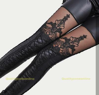 Fashion Women Lace-up Faux PU Leather Lace Leggings Tights Pants