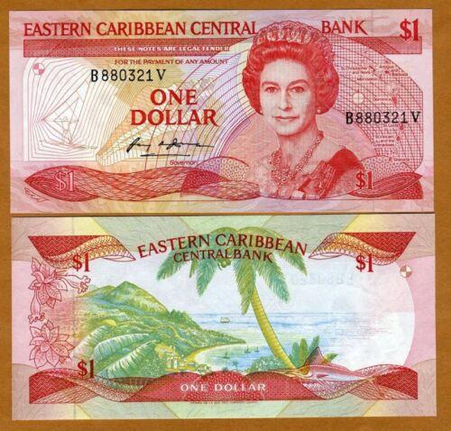 $1 St Eastern Caribbean Vincent P-17v 1985-88 UNC