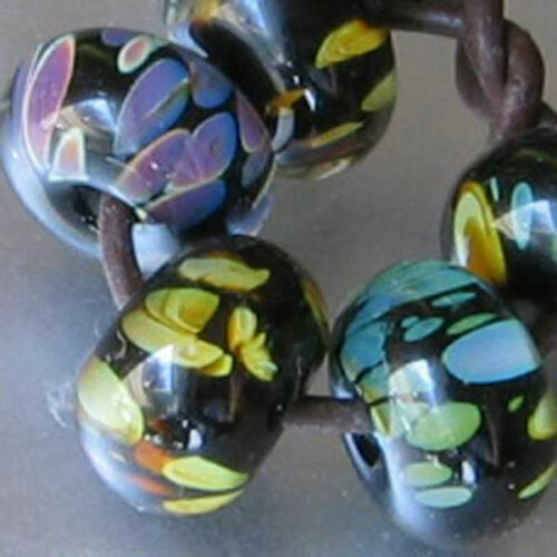 Dfj Murano 5 Usa hecho a mano cristal espaciador granos ~ Otoño Estanque ~ Revestida Negro Sra