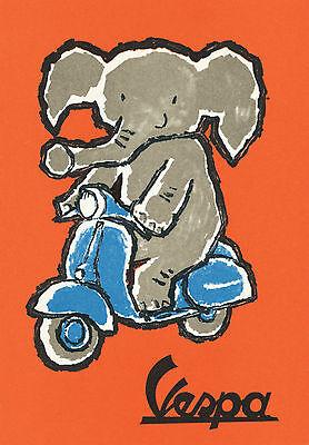 Vespa Vintage Print Large 2 sizes A1 A2 Poster elephant on bike painting art