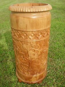 Stands Lovely Floral Carved Wood Stick Stand On Bun Feet Antique Furniture