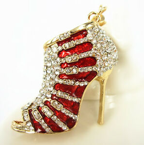 Red-Shoe-High-Heel-Charm-Pendent-Crystal-Lovely-Purse-Bag-Keyring-Key-Chain-Gift