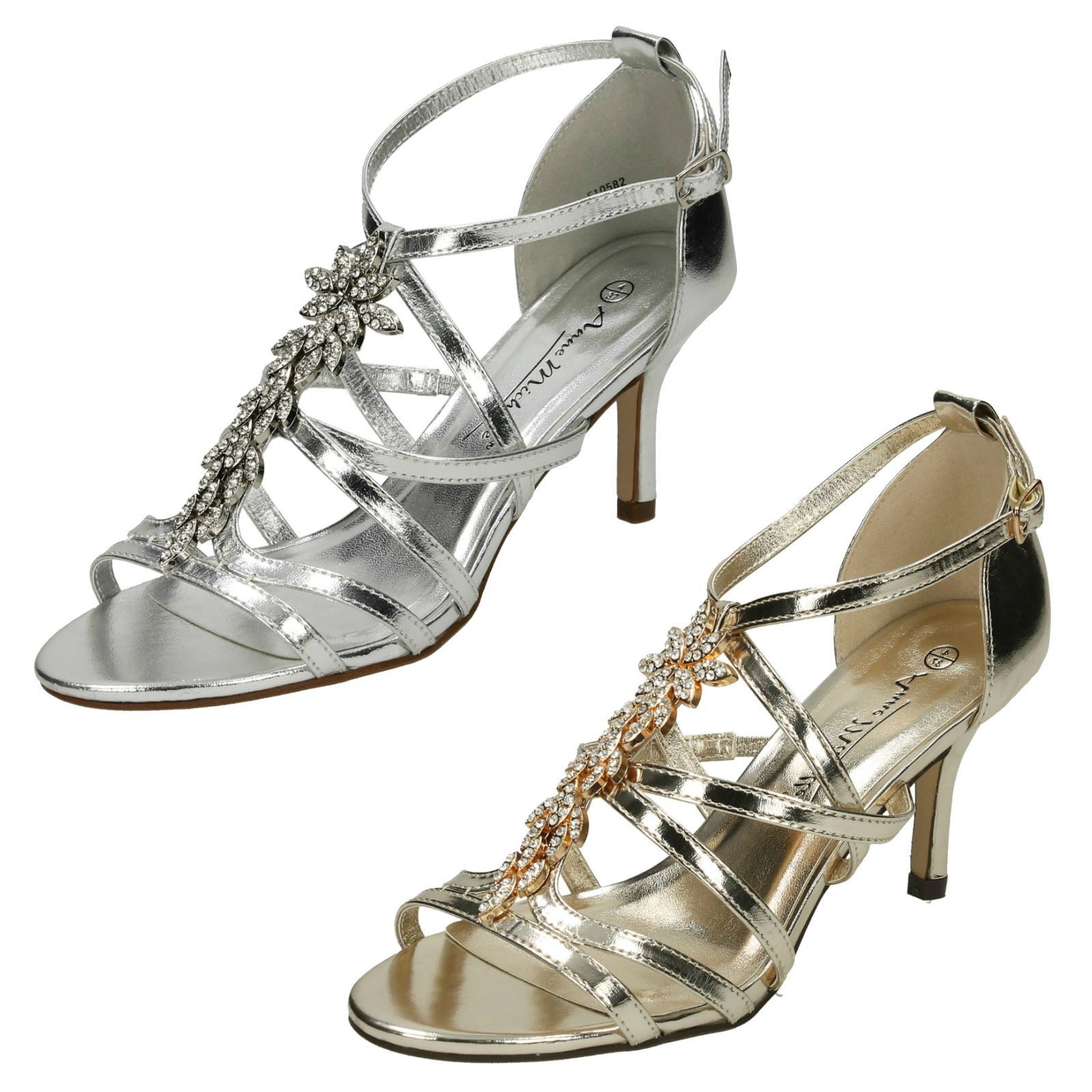 670aed2c015 Ladies Anne Michelle Mid Heel Strappy Sandals F10582 Silver UK 8 Standard