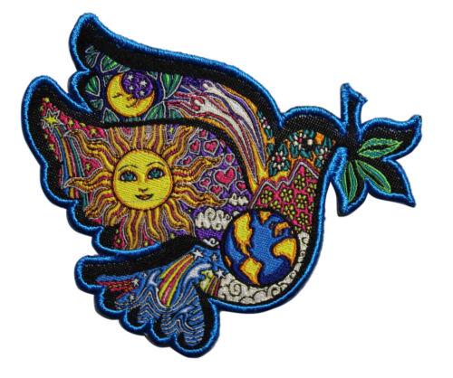 Dan Morris World Peace Dove Iron On Patch Flower Power Sign Hippie