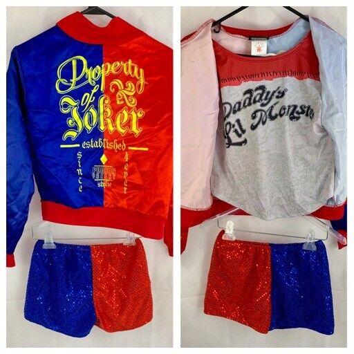 Kids Girls Suicide Squad Harley Quinn Coat Shorts Top Set Halloween Costume Suit