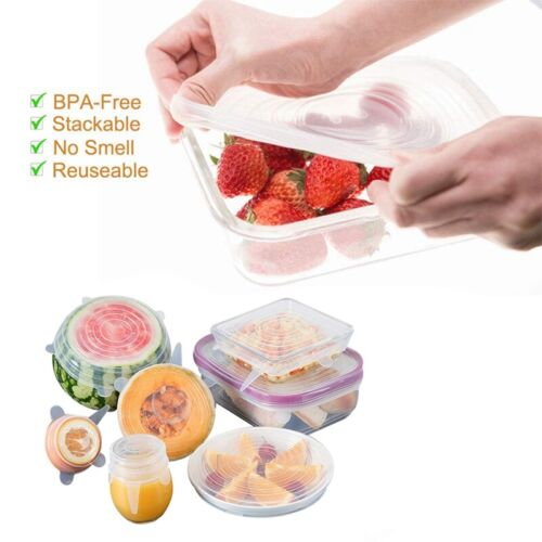 12Pcs Reusable Silicone Stretch Lids Kitchen food Storage Wraps Cover UK Nice