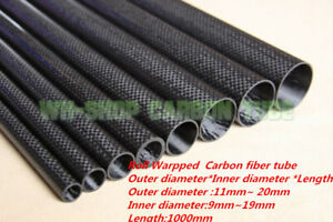 1x-OD-11-20mm-3K-Carbon-Fiber-Tube-Roll-Wrapped-Long-1000mm-Select-Size