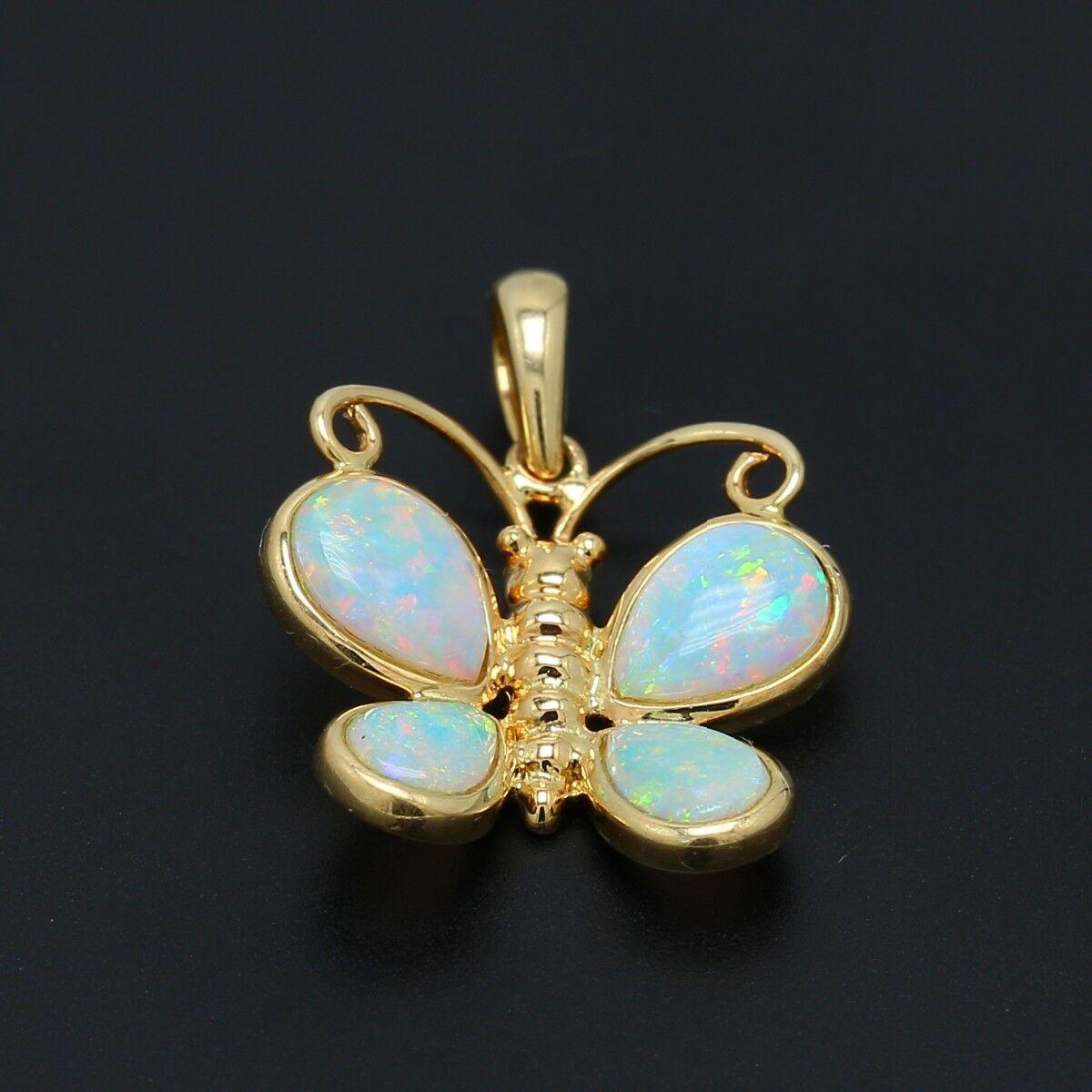 Opal 14k gold Butterfly Pendant