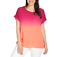 NEW One World Ombre Woven Extended Shoulder Ribbed Knit Trim Shirttail Hem Top