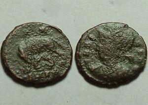 Constantine 335AD Rare ancient Roman coin VRBS ROMA she-wolf Stars Romulus Remus