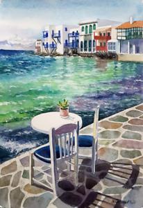 Watercolor painting. Greece. Sea view. Aquarell Gemälde. impressionism seascape