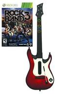 Xbox 360 Guitar Hero 5 Wireless Guitar & Rock Band 3 Game Bundle Rare
