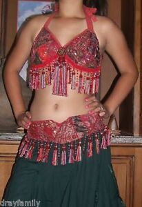 BELLY-DANCE-CORAL-RED-SARI-TRIBAL-FRINGE-TASSEL-BRA-TOP-034-D-DD-034-Cup-RUSTY-RED