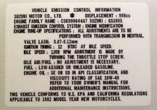SUZUKI GS1000 GSX1100 VEHICLE EMISSION CONTROL INFORMATION CAUTION WARNING DECAL
