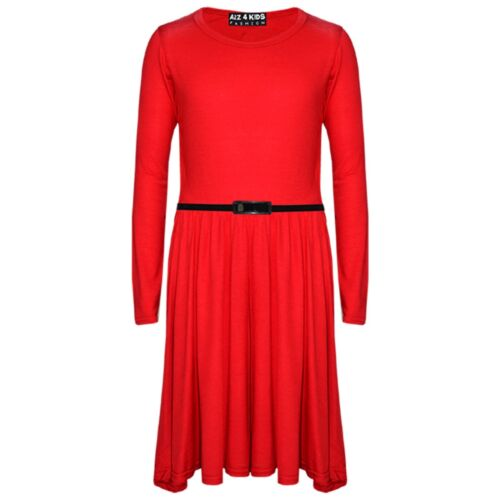 Kids Girls Skater Dress Party 3//4 Sleeves Fashion Dresses With Free Belt 7-13 Yr