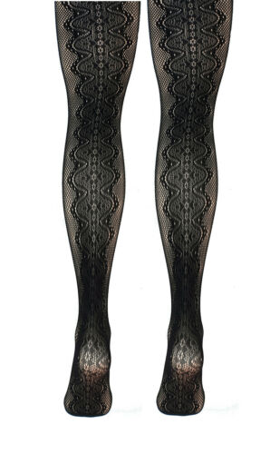 Black Fishnet With Wide Swirl Patterned Back Seam Tights  S//M M//L