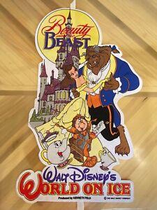Walt-Disney-World-On-Ice-Souvenir-Pennant-Felt-Banner-Flag-Beauty-amp-the-Beast