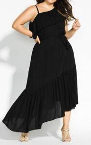 CITY CHIC Dress Plus Size 22 XL Black Maxi One Shoulder Frilled Long Beach Love