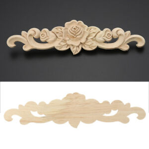 2Size-Unpainted-Wood-Carved-Flower-Applique-Frame-ONLAY-Furniture-Natural-Decal