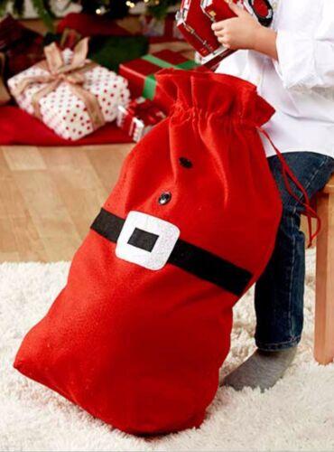 Set//3 Christmas Santa Belt Buckle Gift Sacks Bags Reusable Drawstring 26x17 NIP