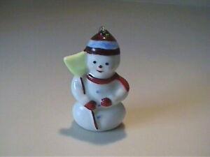 VINTAGE 1970'S CERAMIC SNOWMAN CHRISTMAS ORNAMENT