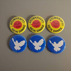 """Badge Pins Friedenstaube Button 2.25/"""" 56 mm Set Atomkraft Nein Danke"""