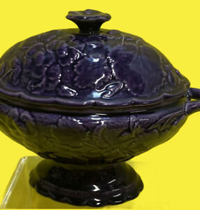 Dick Knox California Deep Purple Pottery soup tureen  Majolica Collectible
