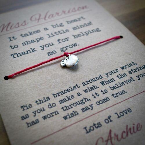 Big Heart Teacher Wish Bracelet End Of Term Gift Teacher Card Best Seller
