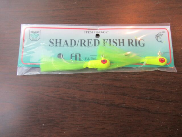 1 Redfish Red Drum Channel Spottail Bass Double Jig Rig 1//4 Oz Chart Jigs 30lb for sale online
