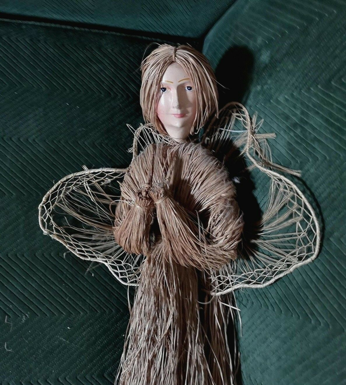 Vintage mask face Paper Mache Doll Angel Palm Frond Body Door  Wall FREE SHIP