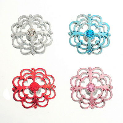 4PCs Chunk DIY Snap Button Fit Charms Bracelet Crystal Hollow Heart Flower 19mm