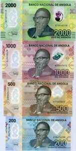 Angola Set 4 Pcs 200 500 1000 2000 Kwanzas 2020 P 160 - 163 Polymer UNC
