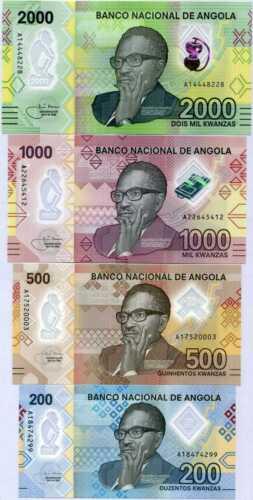 Angola Set 4 Pcs 200 500 1000 2000 Kwanzas 2020 P NEW Polymer UNC