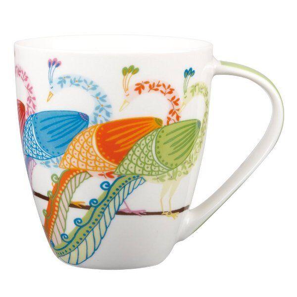 Queens PARADISE BIRDS Crush MUG Tropical PEACOCK Fine China Mug 500ml Churchill