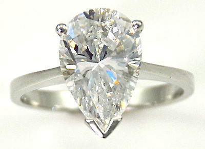 1 ct Pear Ring Vintage Brilliant Top Russian CZ  Moissanite Simulant Size 8