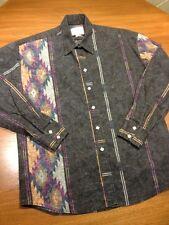 Rockmount Ranch Wear Womens Western Shirt Size L Square Snap Buttons Black Aztec