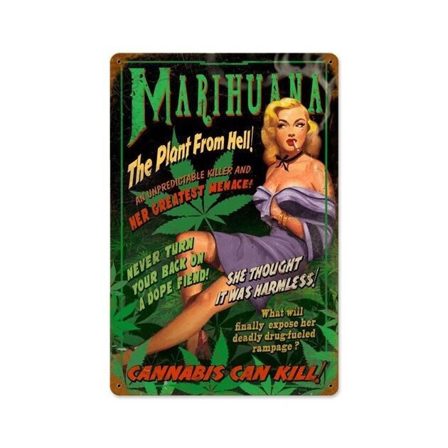 Marihuana Pin Up Vintage Metal Sign Cannabis Pinup Girl 18 X 12 Steel Not Tin