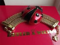 Butler & Wilson Signed Yellow Gold Plated Large Ladybird Bracelet Boxed Qvc
