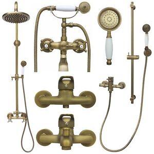Duschset Brauseset Duschsystem Duschgarnitur Armatur Retro Nostalgie Dusche Gold