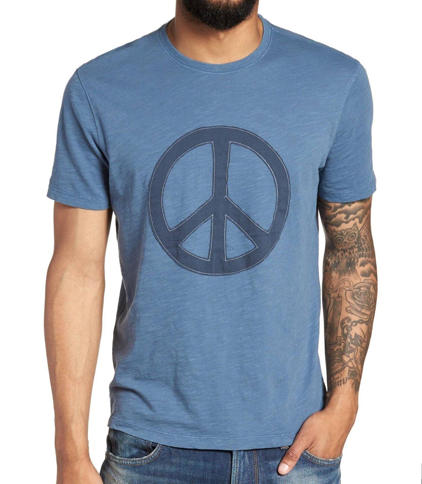John Varvatos Star USA Men's Peace Sign Symbol Applique Crew T-Shirt bluee Stone