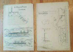 Set of 2 ORIGINAL Architectural Renderings/A MOUNTAIN LODGE (Terry Horowitz)