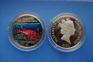 Cook Islands 1 Dollar Farbmünze 2000 Marine Life Protection -- (er13)-afficher Le Titre D'origine Achat SpéCial