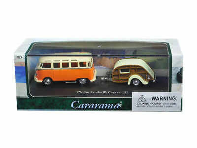 Cararama 12812 Volkswagen VW Camper Bus Samba with Caravan White//Blue 1:72 Scale