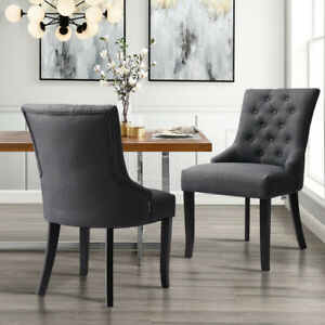 Superb Details About 2 4X Tufted Grey Dining Chair Curved Button Upholstered Scoop Side Chairs Fabric Gmtry Best Dining Table And Chair Ideas Images Gmtryco