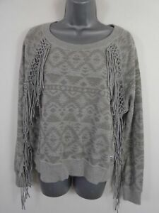 WOMENS-SUPERDRY-GREY-PATTERNED-FRINGED-LONG-SLEEVED-JUMPER-PULL-OVER-SIZE-SMALL