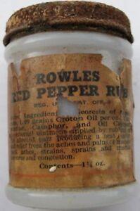 Vintage 1920 S Rowle S Red Pepper Rub Milk Glass Bottle