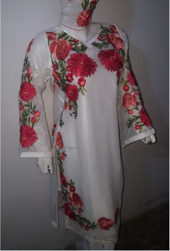 Embroidered Chiffon Stitched Suit Pakistani Indian ladies clearance for Eid