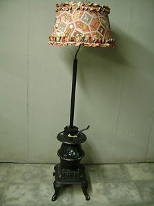 ... VINTAGE CAST IRON POT BELLY STOVE FLOOR LAMP